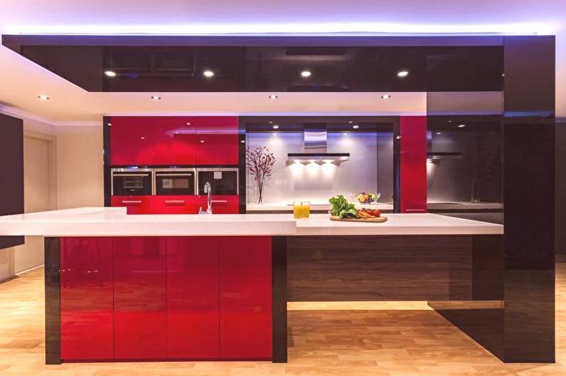Cuisine rouge-noire (70 photos): aménagement intérieur, idées de ...