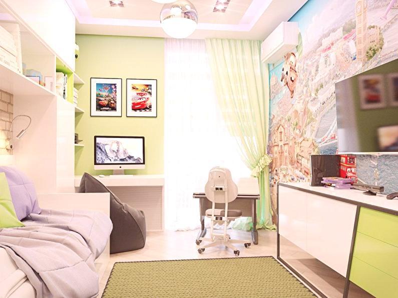 1167c874b291 Výzdoba malej detskej izby v modernom štýle je prevažne monochromatická a  príležitostne existujú jemné geometrické výtlačky. Tento štýl je vhodnejší  pre ...